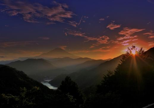 丹沢湖の夕暮